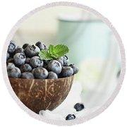 Bowl Of Fresh Blueberries Round Beach Towel