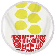 Bowl Of Lemons- Art By Linda Woods Round Beach Towel