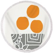 Bowl Of Oranges- Art By Linda Woods Round Beach Towel
