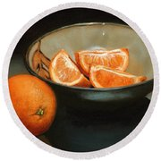 Bowl Of Oranges Round Beach Towel
