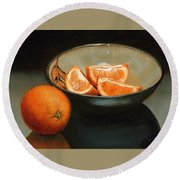 Bowl Of Oranges Round Beach Towel