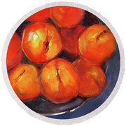 Round Beach Towel featuring the painting Bowl Of Peaches Still Life by Nancy Merkle