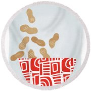Bowl Of Peanuts- Art By Linda Woods Round Beach Towel