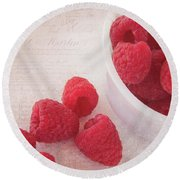 Bowl Of Red Raspberries Round Beach Towel