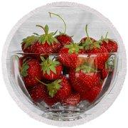 Bowl Of Strawberries Round Beach Towel