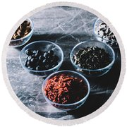 Bowls In A V-shape With Diverse Superfoods In Them Round Beach Towel