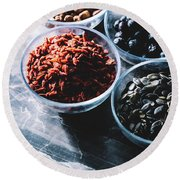 Bowls With Superfoods On Marble Kitchen Counter Round Beach Towel