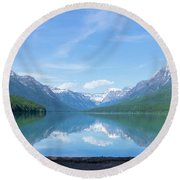 Bowman Lake Mt Round Beach Towel