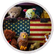 Box Full Of Bears Round Beach Towel by Garry Gay