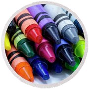 Box Of Colorful Crayons Round Beach Towel