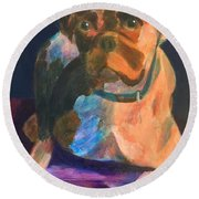 Round Beach Towel featuring the painting Boxer by Donald J Ryker III