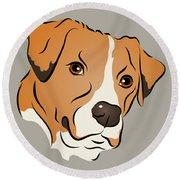 Boxer Mix Dog Graphic Portrait Round Beach Towel
