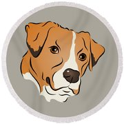Boxer Mix Dog Graphic Portrait Round Beach Towel
