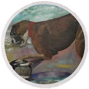 Boxer On Beach Round Beach Towel by Jan Dappen