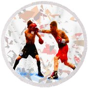 Round Beach Towel featuring the painting Boxing 113 by Movie Poster Prints