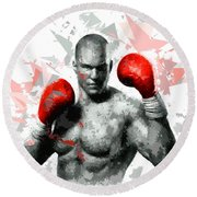 Round Beach Towel featuring the painting Boxing 114 by Movie Poster Prints
