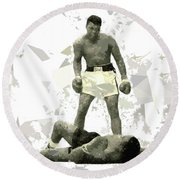 Round Beach Towel featuring the painting Boxing 115 by Movie Poster Prints