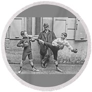 Boxing Under Eyes Of Master, 1904 Round Beach Towel