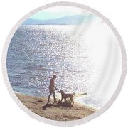 Round Beach Towel featuring the photograph Boy And Dog by Felipe Adan Lerma