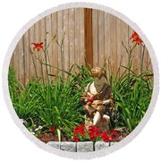 Boy And Dog In Garden Round Beach Towel