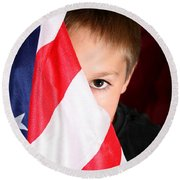 Boy And His Country Round Beach Towel