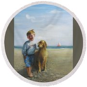 Boy And His Dog At The Beach Round Beach Towel