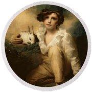 Boy And Rabbit Round Beach Towel by Sir Henry Raeburn