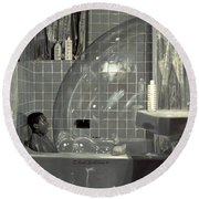 Boy And The Bubble Round Beach Towel