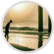 Round Beach Towel featuring the photograph Boy At Sunrise In Alabama  by John McGraw