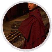 Boy Buddhist In Bodh Gaya Round Beach Towel