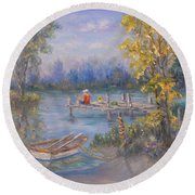 Boy Fishing On Dock And Boat On Lake Round Beach Towel