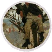 Boy In A Tree Round Beach Towel