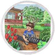 Boy In The Garden Helping Parents Round Beach Towel