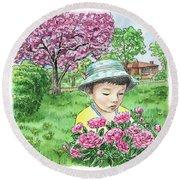 Boy In The Spring Garden Round Beach Towel