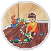 Boy Is Playing With Train Round Beach Towel