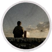 Boy On Wall Round Beach Towel