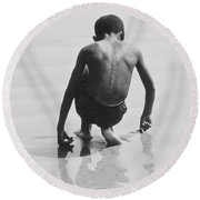 Boy Playing In The Sand At Coney Island Round Beach Towel