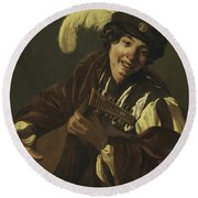Boy Playing The Lute Round Beach Towel