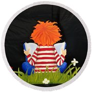 Boy Reading Book Round Beach Towel