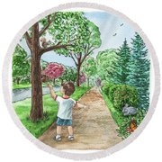 Boy Squirrel Bunny And Butterfly Round Beach Towel