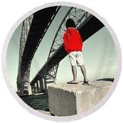 Boy Under Bridge Round Beach Towel