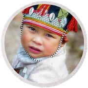 Boy With A Red Cap. Round Beach Towel