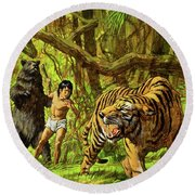 Boy With Bear And Tiger  Round Beach Towel