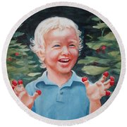 Boy With Raspberries Round Beach Towel by Marilyn Jacobson