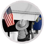 Boy With Two Flags Round Beach Towel