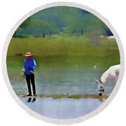 Boy With White Burro Round Beach Towel by John Kolenberg
