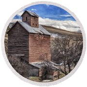 Round Beach Towel featuring the photograph Boyd Flour Mill by Cat Connor