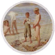 Round Beach Towel featuring the painting Boys Bathing by Alexander Grinager