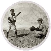 Boys Playing Baseball Round Beach Towel