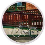 Bozeman Antique Bicycle Round Beach Towel by Craig J Satterlee